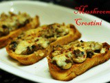 Crispy and Creamy Mushroom Cheese Crostini