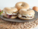 Bagel with cream cheese, egg and smoked turkey
