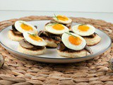 Blini's with chestnut mushrooms and quail eggs