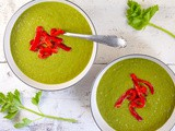Pea soup with roasted red pepper