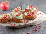 Pomegranate and mascarpone bruschetta