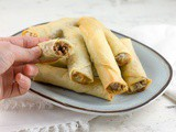 Spiced ground beef phyllo dough rolls