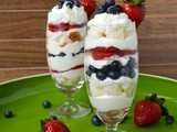 Coconut Mascarpone Cream Parfaits w/ Angel Food Cake, Strawberries and Blueberries