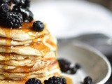 Blackberries & Blueberries Pancakes with Maple Syrup