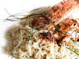 Grilled garlic salmon with chives