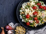 Pasta with Roasted Tomatoes + Chickpeas