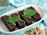 Fresh Mint Cacao Brownies with Walnuts