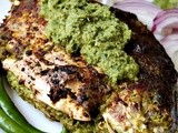 Grilled Stuffed Pomfret with Green Chutney
