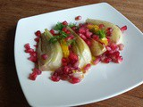 Braised fennel, pomegranate and orange