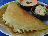 Mla Dosa ( Pesarattu / Green Moong Dosa with a filling of Upma )