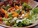 Arugula salad with apricots, pecans and french feta