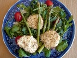 Arugula salad with asparagus and herbed hazelnut crusted goat cheese