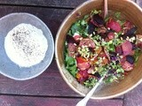 Beet, arugula and French feta salad with pine nut, lemon, rosemary sauce