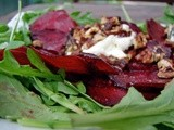 Beet carpaccio with warm goat cheese, pecans and sage