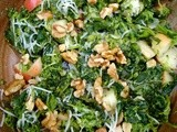 Broccoli rabe with apples, walnuts, honey and cheddar
