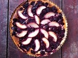 Cherry, white peach, chocolate and frangipane tart