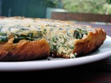 Chickpea flour chard frittata-cake (with olive sofrito)