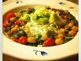 Chickpeas, black beans and spinach with lime, ginger and avocado
