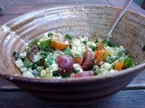 Corn, avocado, french feta and cherry tomato salad