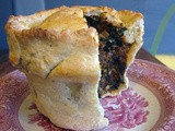Deep pie with black beans, greens and pistachios
