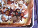 Eggplant and sweet potato tart with pistachios and pine nuts