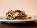 Eggplant, roasted mushroom, red bliss, spinach bake