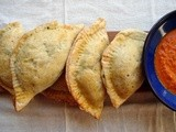 Empanadas with greens, green olives and pistachios