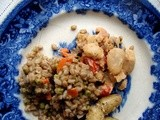 Farro pilaf with pan-fried butterbeans
