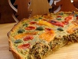 Festive chard, roasted pepper and olive tart