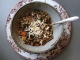 French lentil & barley stew with sage, rosemary and port wine
