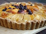 Fruit & coconut tart and applesauce with balsamic, vanilla and black pepper
