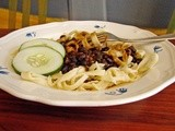 Homemade noodles with black beans and tamari