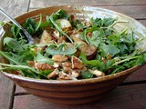 Honey roasted potato salad with arugula and pecans