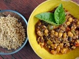 Millet and summer stew with black beans and hominy