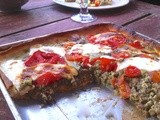 Pesto, lentil and tomato tart