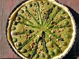 Pistachio and tarragon tart with castelvetrano olives and asparagus