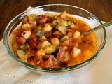 "Red bean hominy stew & little cornmeal ""quiches"""
