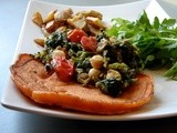 Red pepper semolina crepes with broccoli rabe & chickpeas