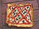 Ricotta chard tart with roasted peppers, olives, and a yeasted cornmeal crust