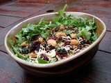 Roasted beet and butterbean salad with spinach, arugula and smoked gouda