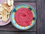 Roasted beet, red pepper and white bean dip with lime and rosemary