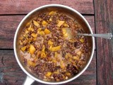 Roasted butternut squash and black beans in coconut milk