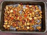 Roasted chickpeas, potatoes and tomatoes