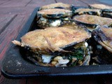 Roasted eggplant stacked with french lentils & chard and Malcolm's spicy sauce and Isaac's carrots & capers