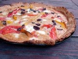 Roasted pepper and tomato tart with almond-hazelnut crust