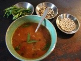 Roasted tomato & white bean soup with wild rice and tarragon