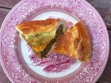Roasted turnip, spinach and walnut pie