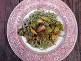 Soba noodles with arugula pecan pesto and sauteed brussels sprouts and castelvetrano olives