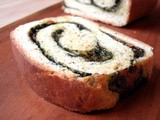 Spinach raisin spiral bread
