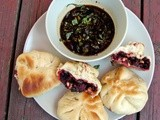 Steamed dumplings with beets, black beans and lime